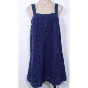 Navy Eyelet Jumper Dress